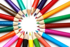 image of different coloured pencils