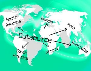 image of a map with outsourcing directions