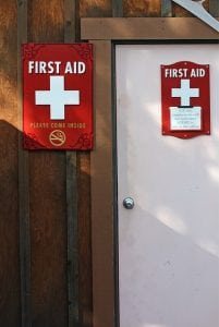 image of first aid kit on wall