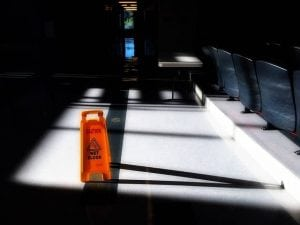image of a wet floor sign