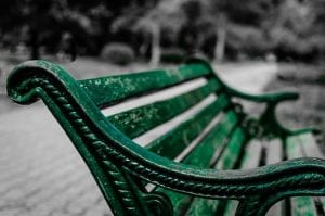 image of a green park bench