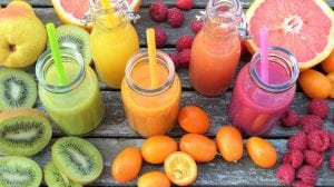 green yellow orange red smoothies