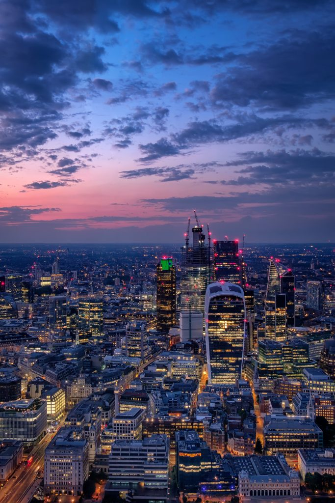 A city skyline view of London and the area which we provide cleaning services