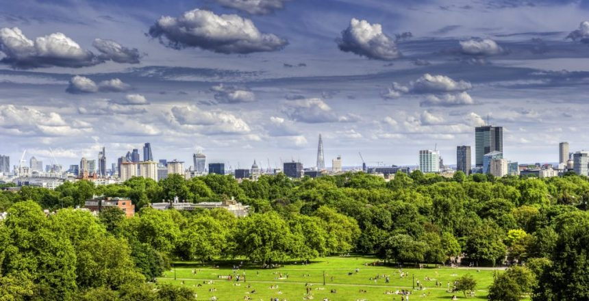 London's skyline from Primrose Hill near camden in London