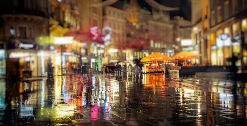 city streets on rainy night